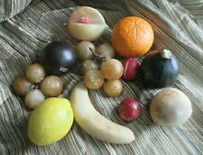 Vintage Italian Alabaster Marble Stone Life-Size Fruits Lot of 11 pieces