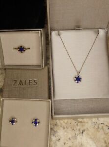 Zales Sapphire Ring necklace Earring Set