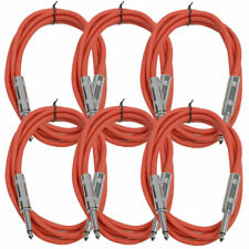 "SEISMIC AUDIO New 6 PACK Red 1/4"" TS 6' Patch Cables - Guitar - Instrument"
