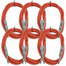 """SEISMIC AUDIO New 6 PACK Red 1/4"""" TS 6' Patch Cables - Guitar - Instrument"""