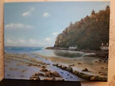 Oil painting on canvas hand painted (Llanbedrog beach, North Wales)