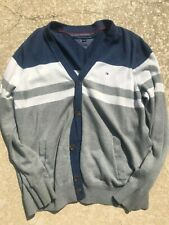 Tommy Hilfiger colorblock cardigan button sweater extra large xl white blue