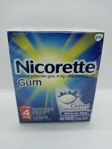 Nicorette Gum 4 mg Coated White Ice Mint - 100 Count Exp 2/2022