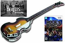 NEW Nintendo Wii Beatles Rock Band Hofner Wireless Bass Guitar & RockBand 3 Game