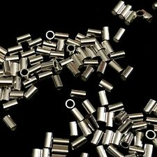 50 Sterling Silver Tube Crimp Beads 3x2mm Findings