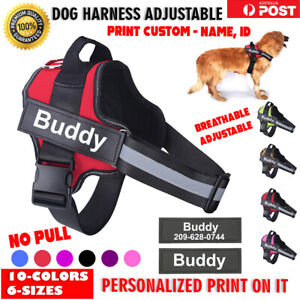 Dog Harness Adjustable Reflective NO PULL Outdoor Pet Breathable Vest Custom ID