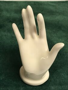 "Vintage Cream Hand Ring Holder Ceramic 6"""