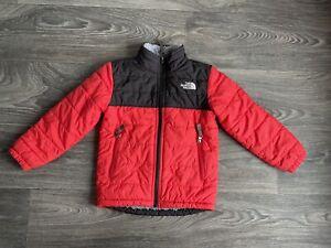 The North Face Puff Ball Puffer Jacket Reversible Fleece Line Red Kids Boy XXS 5
