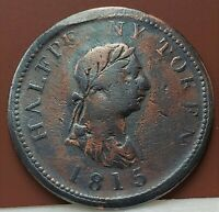 🍁 NS27A1 Canada 1/2 Penny Token 1815 Halifax Nova Scotia Breton #: 889 Canadian