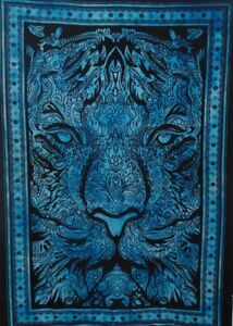 Tapestry Blue Leo Lion Face Small Poster Decor Home Art Wall Hanging Bohemian