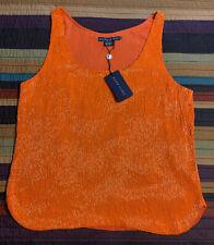 vintage Ralph Lauren Woman's orange glass bugle bead tank top