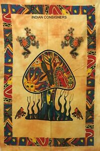 Yellow Color Mushroom Frog Design Wall Hanging Cotton Indian Tapestry Twin Size
