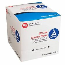 """Dynarex Sterile Gauze Pads 4"""" X 4"""" 12-Ply Single Wound Care #3354 100 Bandages"""