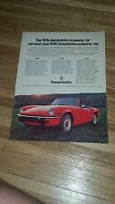 "1972 Triumph Spitfire Vintage Magazine Ad ""Our little inexpensive economy car"""