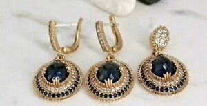 925 Sterling Silver Handmade Antique Turkish Sapphire Earring Pendant Ladies Set