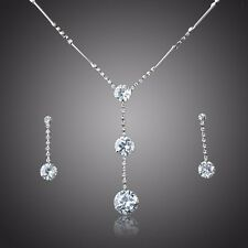 Clear White Cubic Zircon Rhodium Plated Bridal Jewelry Set Drop Earring Necklace