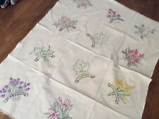 CANADA PROVINCIAL FLOWERS Hand Embroidered - Vintage Blocks Quilt Cotton Tops
