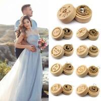 Personalized Rustic Wedding Wood Diamond Ring Round Box Holder Jewelry Gift