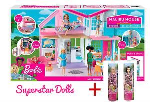 2018 Malibu Barbie Doll Dream House FXG57 + 2 X BONUS BARBIE DOLLS