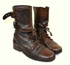 ALL SAINTS Brown Distressed Leather DAMISI Laced Military Boots Size 40 UK 7