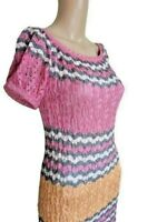 Missoni Womens Multicolor Short Sleeved Pencil Dress Knee Length Size Small