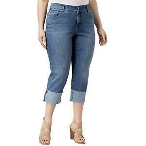 MSRP $60 Style & Co. Womens Plus Denim Light Wash Capri Jeans Blue Size 24W