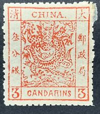 1883 Qing Empire China, 3c Thick Paper Large Dragon, MH, Repair Corner, CV$1150.