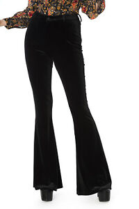 Women's Black Shinny 70s Gothic Rockabilly Mystic Flares Trousers BANNED Apparel