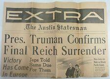 PRESIDENT TRUMAN CONFIRMS FINAL REICH SURRENDER 1945 NEWSPAPER