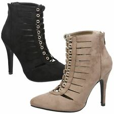 WOMENS ANKLE BOOTS LADIES SHOES LACE UP POINT TOE STILETTO HIGH HEEL CUT OUT NEW