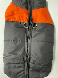 Cute Dog Puffer Vest Puffy Jacket for Dog with Leash Hook NEW Orange and Black
