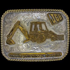 Sterling Silver JCB Backhoe Loader Dozer Operator Gift NOS Vintage Belt Buckle