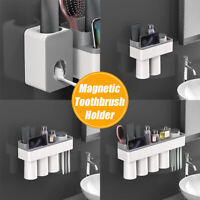 NEW Magnetic Toothbrush Holder Toothpaste Dispenser Bathroom Organizer Storage