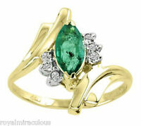 Marquise Emerald and Diamond Ring 14K Yellow Gold
