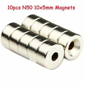 10Pcs N50 Strong Disc Round Ring Rare 3mm Hole Earth Neodymium Magnets 10x5mm