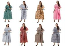 Indian Cotton Kaftan Hand Screen Printed Ladies Casual Maxi Summer Dress 10 Pcs