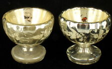 ANTIQUE MERCURY GLASS PAIR SMALL WINE CHALICE CHAMPAGNE DESSERT FRENCH 1850 SET