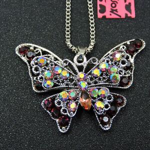 Betsey Johnson Shiny Red Rhinestone Lovely Butterfly Pendant Sweater Necklace