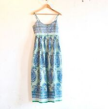 Anokhi Dress Vintage Boho Chic Hand Block Print in Blue/Green Soft Cotton