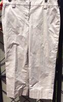 ANN TAYLOR Loft Petite Womens Khaki Cotton Career Casual Dress Pants Capri Sz 4P