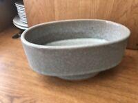 Vintage Japanese Ikebana Vase. Mid century Floral Arrangement. Stone Ceramic