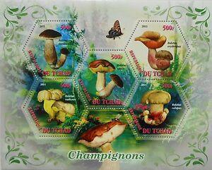 Mushrooms s/s hexagon shape stamps Tchad 2011 MNH #tchad2011-36