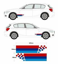 BMW M Style Car Decal Graphic Stripe Set 3 Series, 1 Series, 5 Series