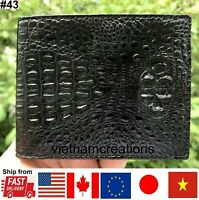 Leather Men Wallet Bifold Genuine Alligator Crocodile Skin Exotic Animal Black