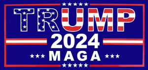 Lot of 6 Trump (USA Overlay) 2024 ***MAGA*** Blue Vinyl Decal Bumper Sticker