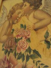 quadro pittura su stoffa angeli putti rose 1890