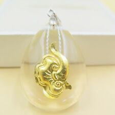 NEW Pure 999 Gold Auspicious Clouds Man-made Crystal Pendant