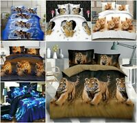 4 Piece 3D Animal Print Bedding Set Duvet Quilt Cover Fitted Sheet Pillow Cases