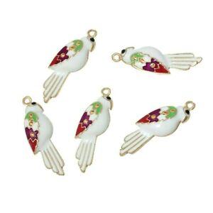 5 Gold Pink White Enamel Cockatoo Parrot Bird 28x18mm Bead Drop Charms Pendants