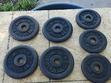 Lot of 4 - 5 lb & 3 - 3 lb Cast Iron Weider Barbell Weights - Used - Home Gym